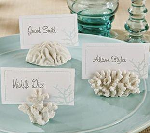 White Faux Coral Beach Wedding Guest escort card holders