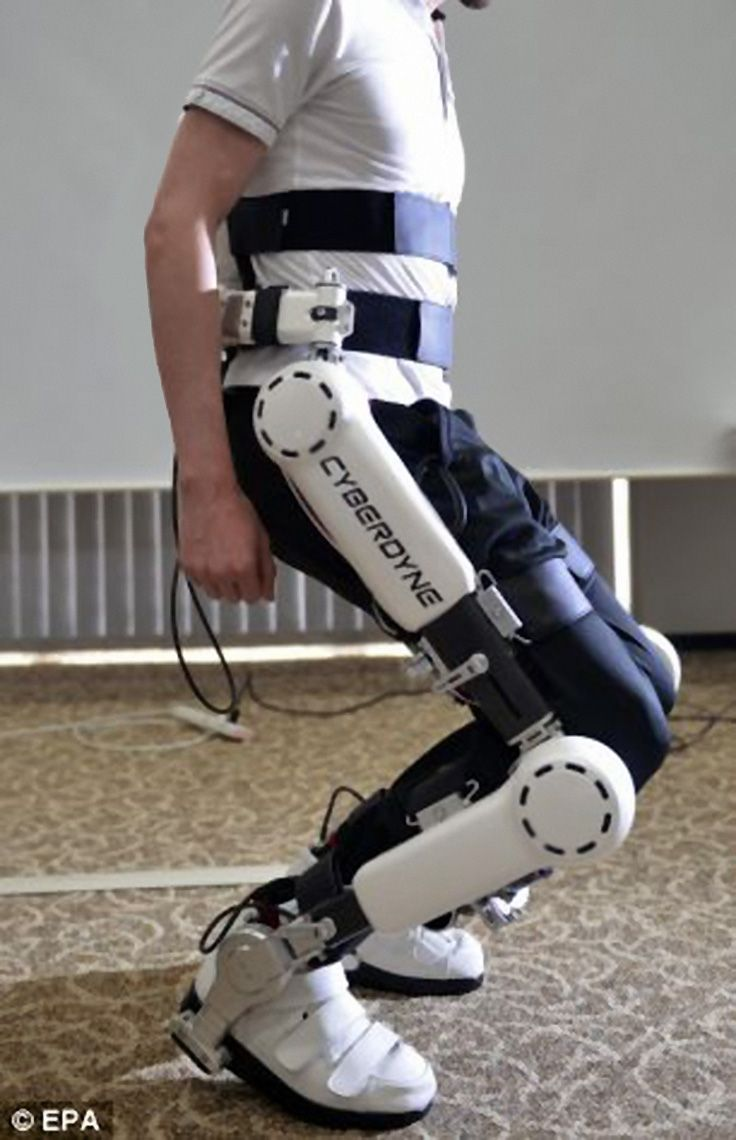 Japanese robotics firm Cyberdyne's presents one of two types of the medical Robot Suit HAL as a personal mobility vehicle (PMV). The HAL 3 system, pictured, is a leg-only device, while the full-body HAL 5 additionally works with arms and torsos. The exoskeleton 'cyborg-type robot' devices received approval for sale in UK. #technology #healthcare #medicaltech #prostheticlimb