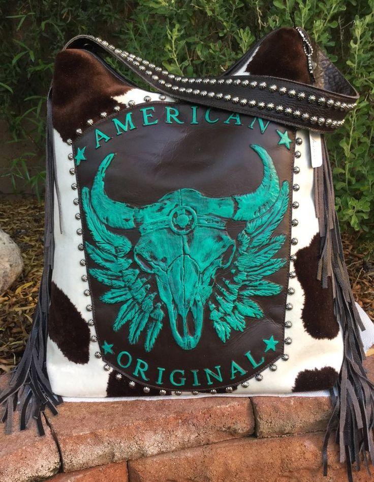 Raviani Western Leather Handbag Purse w/ TEXAS Longhorn Skull & Fringe Rodeo USA #Raviani #ShoulderBag