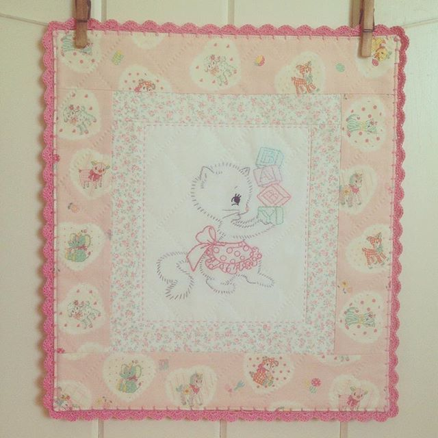 This sweet mini wall quilt is finished and will be headed to the shoppe soon!!