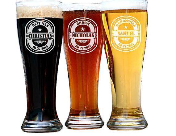 Groomsmen Gift Personalized Beer Glasses Custom by UrbanLoftTampa