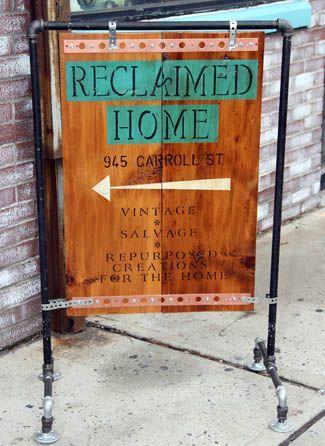 Reclaimed wood and black pipe sidewalk sign, Crown Heights, Brooklyn