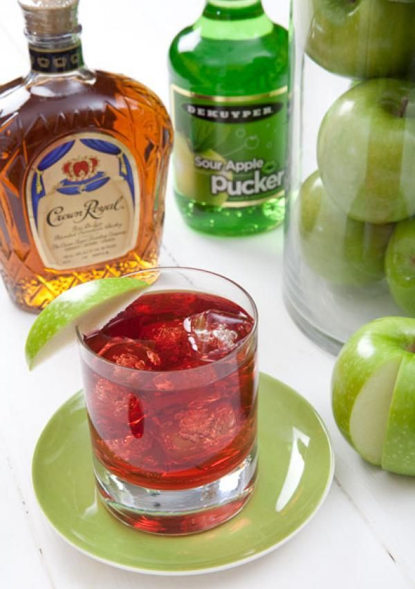 CA Crisp   ------ Yield:  1 Drink.  Prep time:  2 mins.   Ingredients: - 1.5 oz. Crown Royal Whiskey * 1.5 oz. DeKuyper Sour Apple Pucker Schnapps * 3 oz. cranberry juice * apple slice for garnish.  Directions:-  Shake all ingredients and pour into a rocks glass with ice.  Garnish with an apple slice.