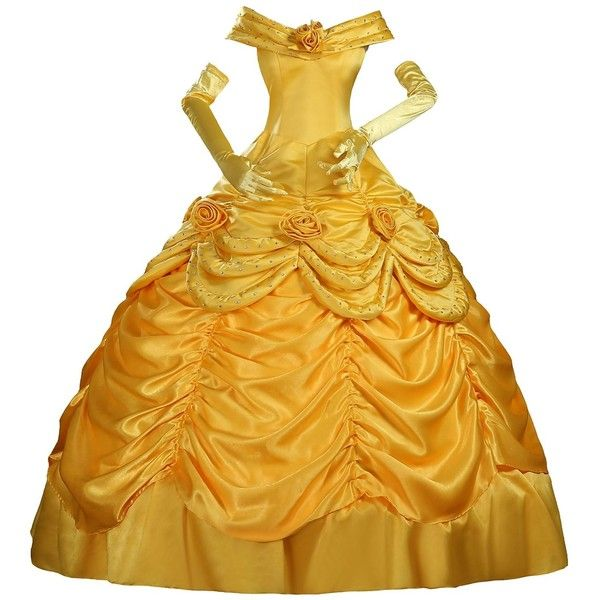 Cosrea Beauty and Beast Princess Belle Cosplay Costume Dress ($86) ❤ liked on Polyvore featuring costumes, princess costume, yellow ranger costume, belle halloween costume, role play costumes and cosplay costumes