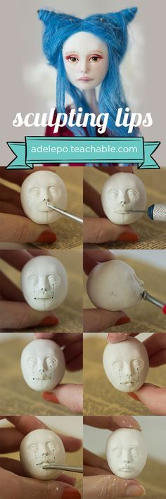 Sculpting lips tutorial by Adele Po. Find more doll making tutorials and lessons at adelepo.teachable.com Videos, photos and written instructions to help you create an art doll!