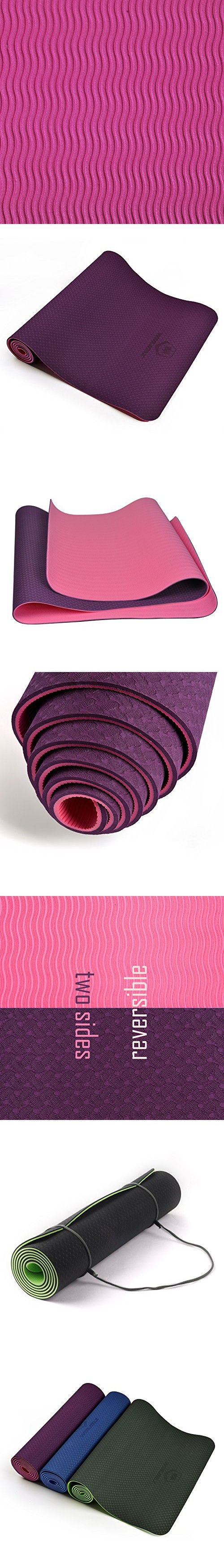 WinMax Anti-slip Eco-Friendly 6mm 1/4 inch TPE Fitness Yoga Mat with Carrying Strap (Purple)