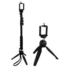 YunTeng YT-188 Universal Monopod for Mobile Phones and Sports Cameras (Black) with Yunteng YT-228 Tripod (Black)