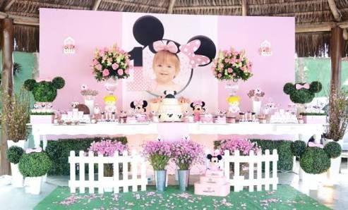 Resultado de imagen para festa jardim da minnie rosa