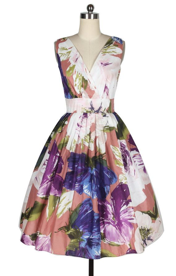 1950's Vintage Inspired Pink and Purple Floral Print A-line Dress  0031