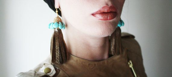 Bronze Leather Tassel Earrings with Turquoise Beads by elifus