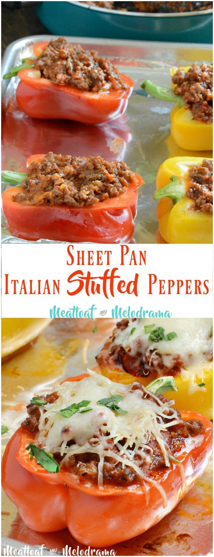 Sheet Pan Italian Stuffed Peppers - This easy dinner is gluten free, low carb and takes just 30 minutes to cook. Plus clean up is easy too! from Meatloaf and Melodrama