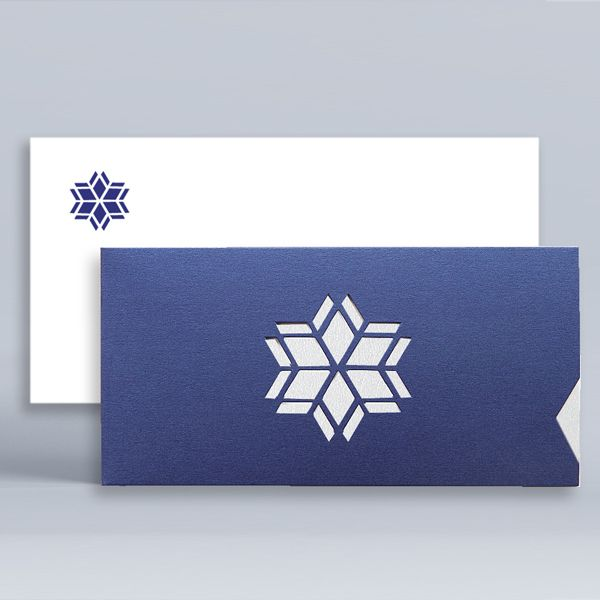 Modern Corporate Christmas Cards UK - Modern Snowflake Blue - Polina Perri