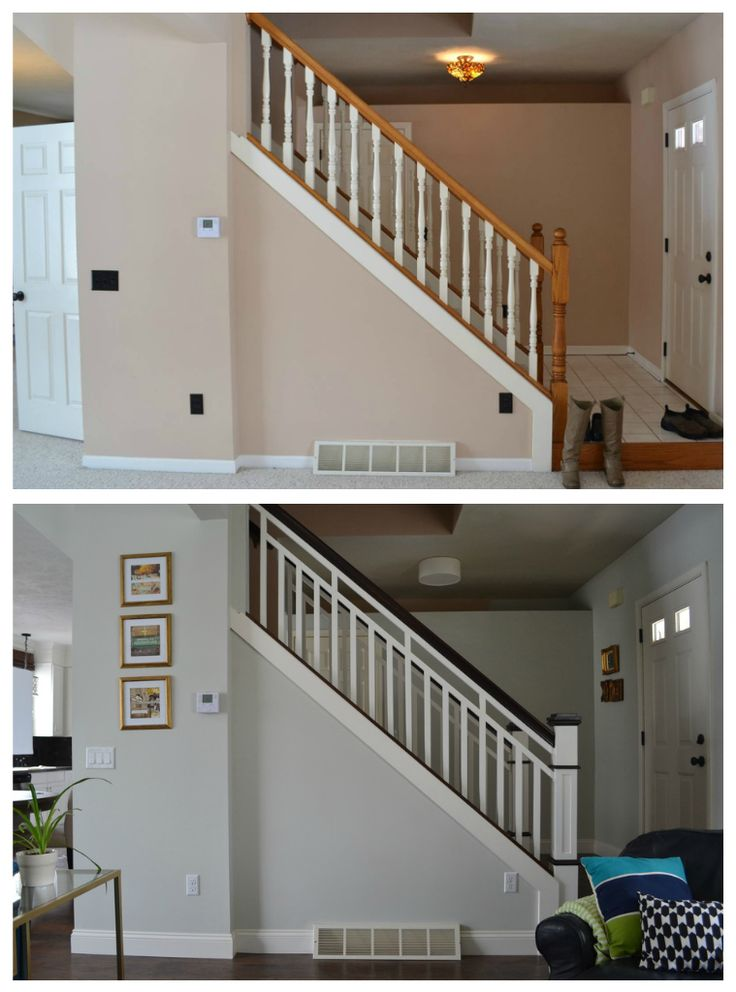 Diy stair railing makeover stairs pinterest for Deco entree escalier