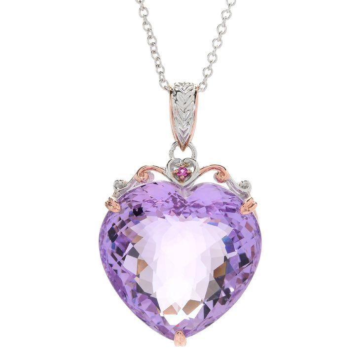 158-904 - Gems en Vogue 48.20ctw Pink Amethyst & Pink Sapphire Heart Pendant