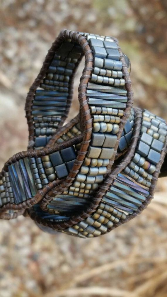 a leather triple wrap bracelet...50 shades by offbeadinpathneosho