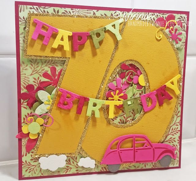 Exotic colors on a Birthday card made with Marianne Design products