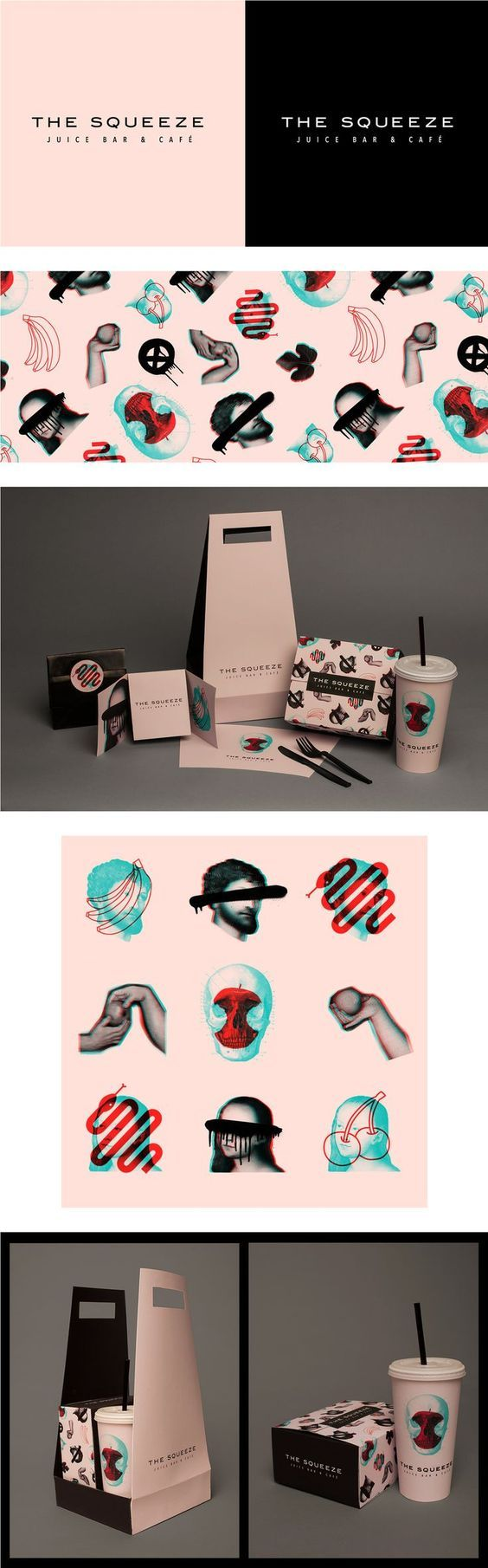 (53) The Squeeze Juice Bar & Cafe Takeaway Packaging by Laura Pursel   Logo, visual id, brand, iconography   Pinterest / Packaging / Design / Branding / Ideas / Inspiration / Brand / Visual Identity / Graphism / Edgy / Modern / Bold / Collage / Digital Art / Restaurant / Bar / Juicery / Cafe