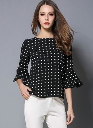 Polka Dot Vintage Polyester Round Neckline 3/4 Sleeves Blouses