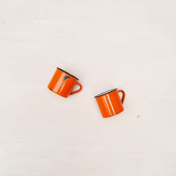 Pair of Vintage Orange Enamel Camping Mugs - Bright Orange Coffee Mugs - Made in Japan - Retro Camping Mugs - Midcentury Orange Mugs