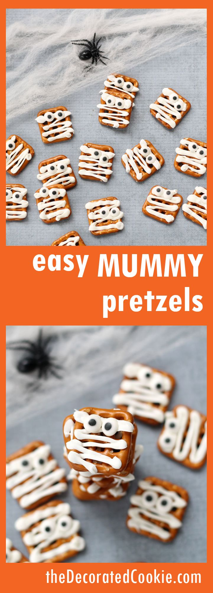 easy mummy pretzel treats for Halloween