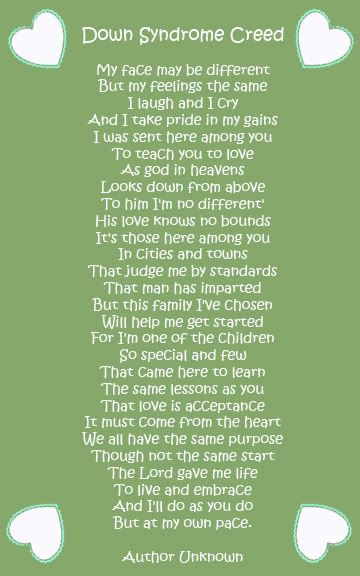 Poems+About+Down+Syndrome | Down Syndrome Creed - BabyCenter