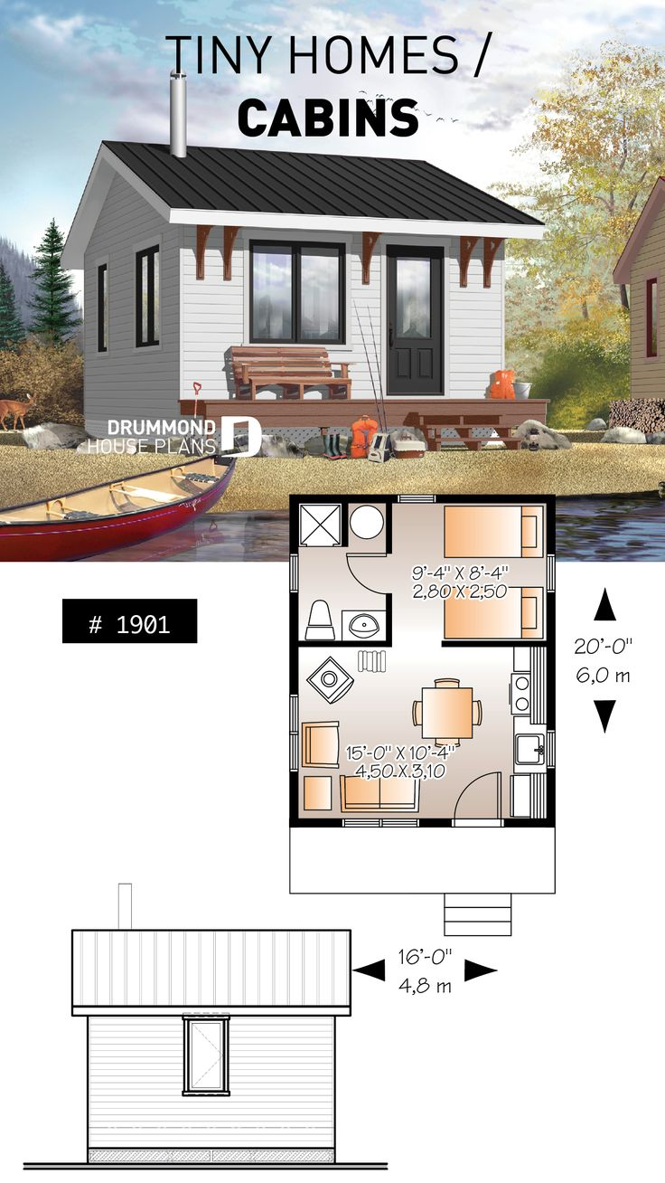 Small 1 bedroom cabin plan, 1 shower room, options for 3 or 4-season included, wood stove