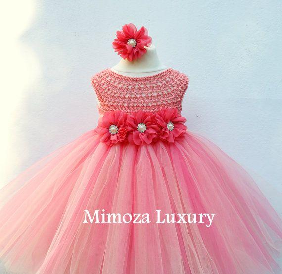 Coral Peach Flower girl dress coral tutu dress bridesmaid