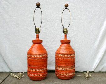 Vintage Orange Ceramic Mid Century Modern Lamp Set of 2 - Edit Listing - Etsy
