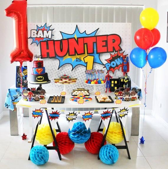 Superhero Backdrop Design For Birthday Party Printable File