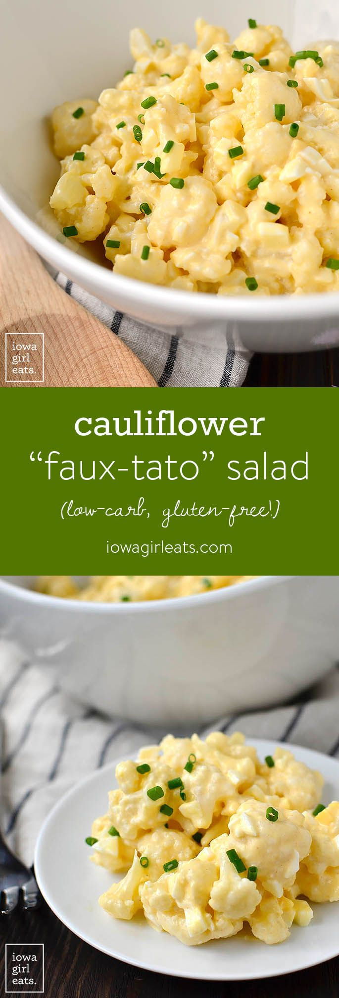 Cauliflower Faux-tato Salad is a low-carb alternative to potato salad. This classic, creamy, gluten-free side dish is absolutely delicious! | iowagirleats.com