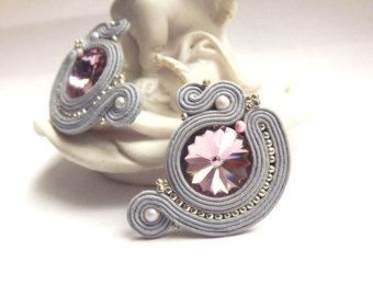 Soutache earrings studs Grey yellow soutache earrings Soutache jewelry Stud…