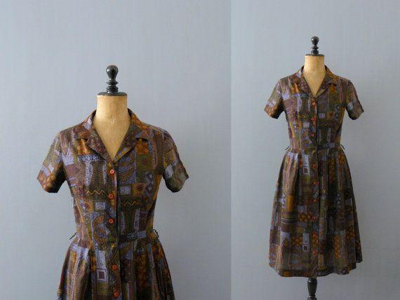 Vintage shirtwaist dress. 1950s dress. 50s cotton dress