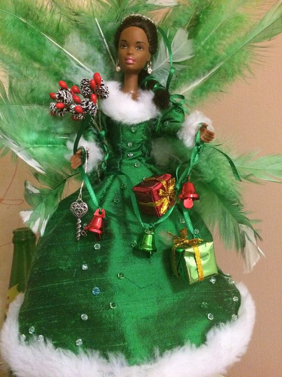 Silk and fur African American Barbie Angel Christmas tree topper up cycled doll…