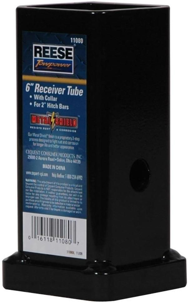 """Reese 11080 Trailer Hitch Receiver Tube, 6"""" x 2"""""""