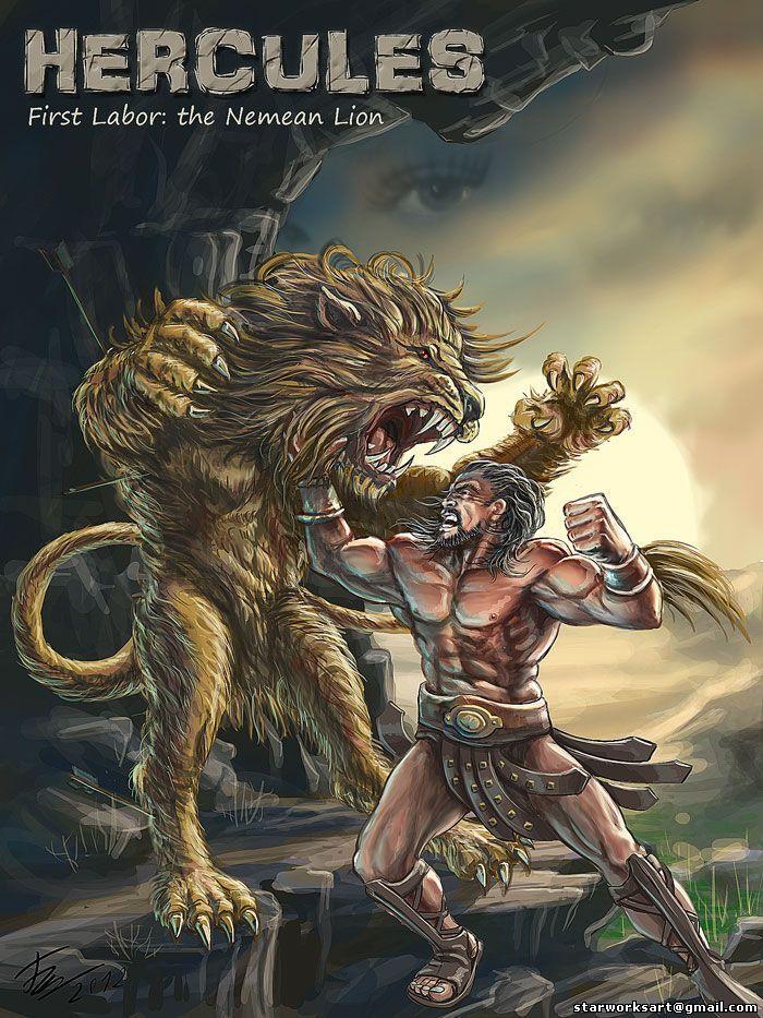 hercules vs nemean lion - 700×933