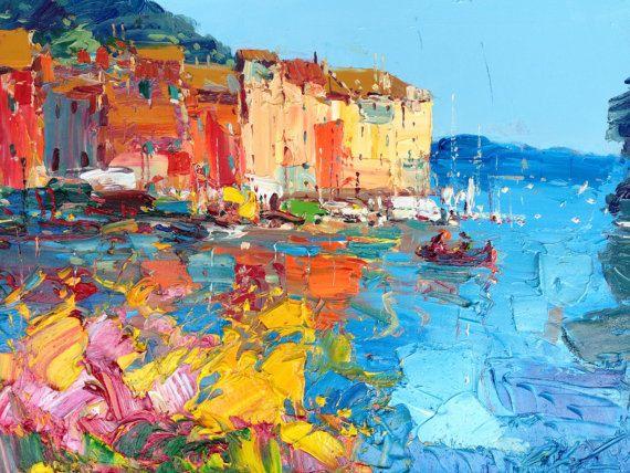 İçin Wall Art Ev Dekorasyonu Duvar Dekoru Hediye Boyama Portofino Orijinal Boyama Soyut Resim Yağlıboya Resim Tuval de Çiçekler Her