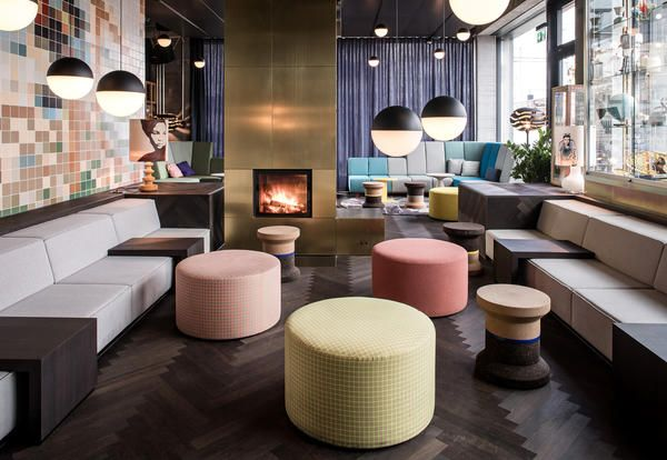 Pastel colors and design furniture at 25hours Hotel Langstrasse, Zurich