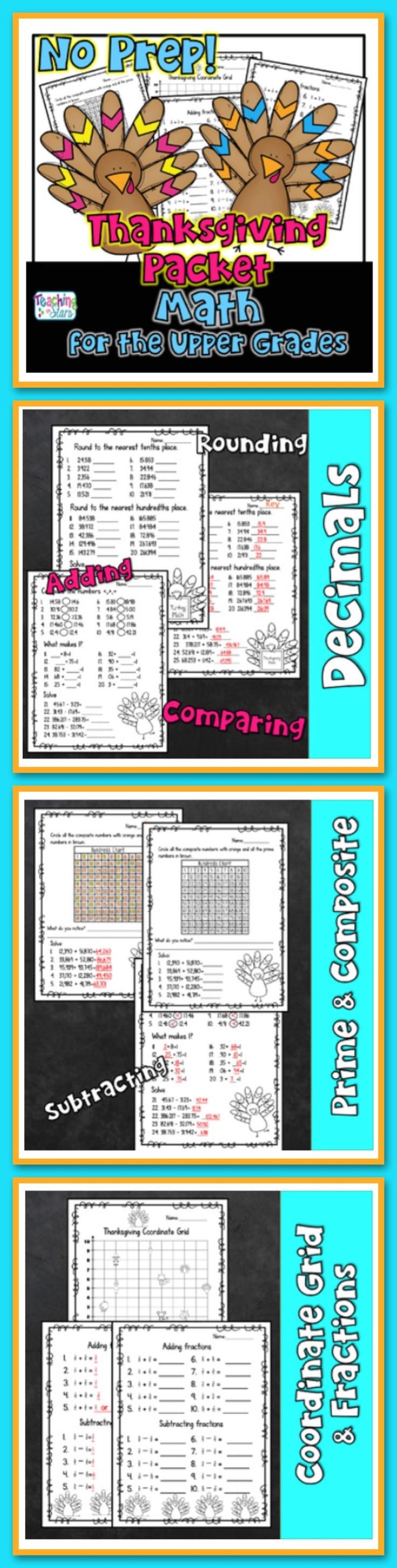 Thanksgiving Math Worksheets are a great way for students to reinforce their math skills and review previous learned concepts. Students will work on place value, decimals, fractions, coordinate grids, and basic operations. These worksheets can also help prepare students for standardized testing.