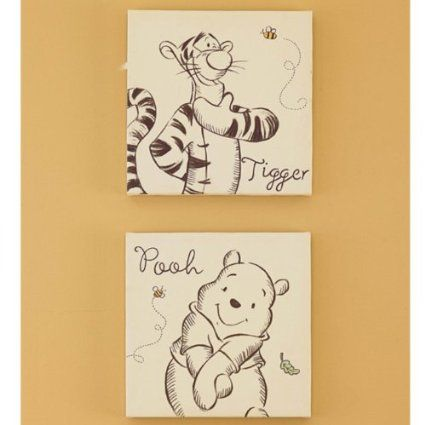 I really like the style on these canvases in the nursery. A Bear Named Pooh Canvas Wall Art-2 Piece {Amazon}