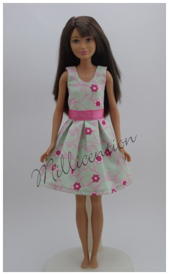 Mint-pink floral Skipper doll dress