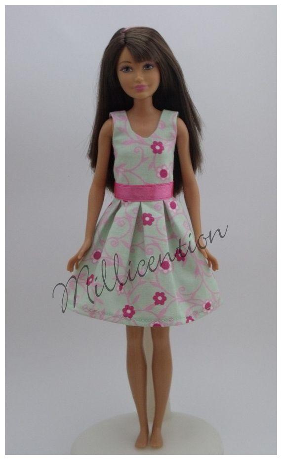 Mint-pink floral Skipper doll dress