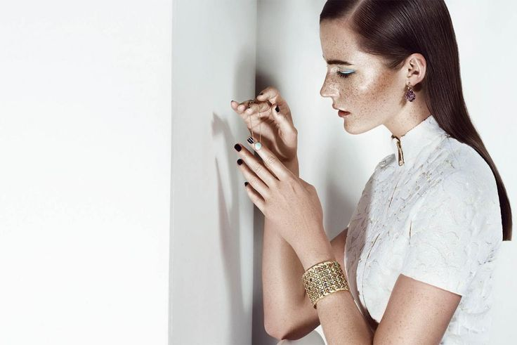CHRISTIAN DIOR//Photography: Adam Black/Client: Christian Dior Couture-Middle East for Layalina/Stylist: Gemma M Jones/Makeup & Hair: Hedi Kalmar/Models: Laura,MMG Models// jewellery photo shoot, jewellery campaign, beauty photo shoot, dubai photography, united arab emirates, gold jewellery, natural stones, black nails, smooth hair, blue eyeliner, freckles, white background, white dress, luxury photo shoot, glamour photo shoot