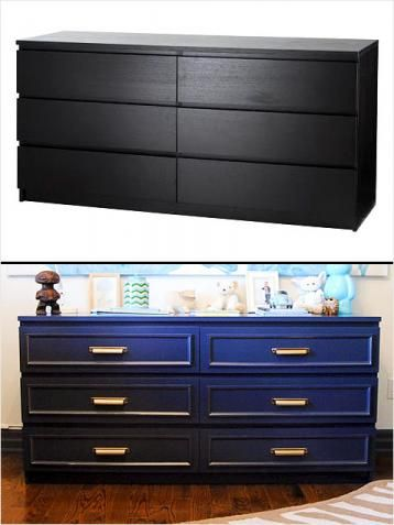 Malm dresser hack. Love the color and pulls.