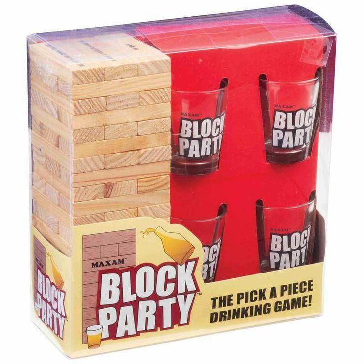 MaxamTM Block Party Drinking Game With Shot Glasses