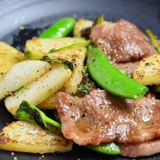 <牛カルビの脂で旨い!春野菜と山芋の炒め物>
