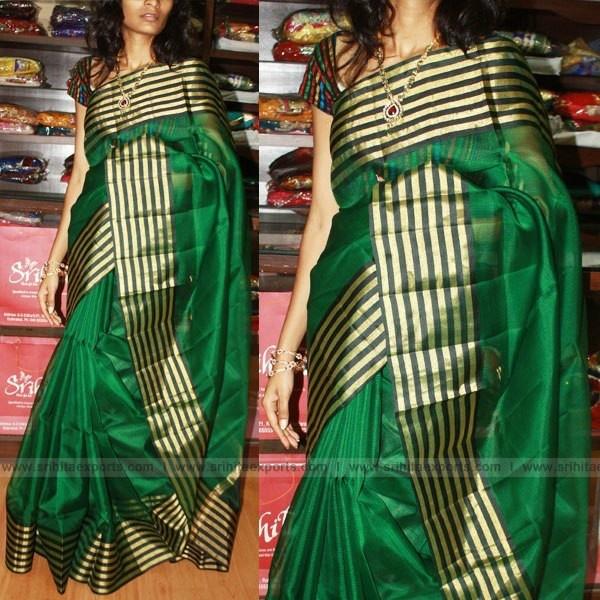 Zari & silk kota saree. Green again