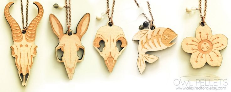 These are the wood lasercut necklaces for sale at Owl Pellets. They are all designed in Illustrator and then lasercut at a local studio. Available on my etsy shop Owl Pellets! Check out other items...