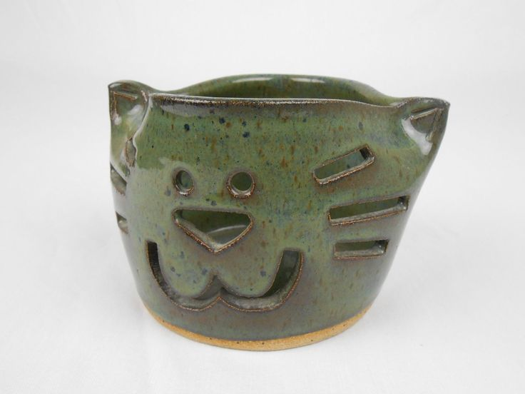 """Hand Crafted Cat Face Green Pottery J. Hansen 3 3/4"""" tall"""
