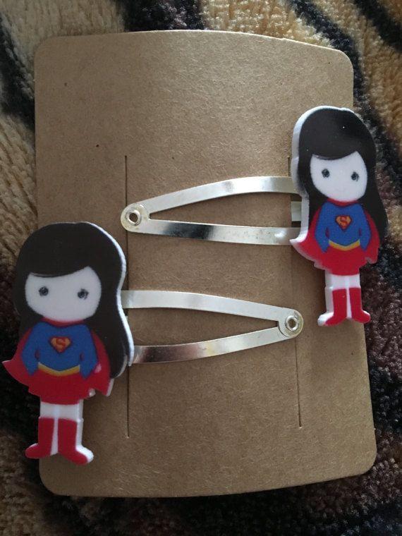 Superhero hair clips Super Woman great nerdy geek birthday