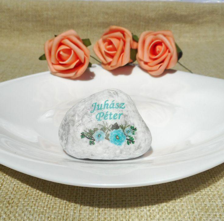 """Kék virágos Köszönetkavics és ültető """"kártya"""""""